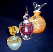 3 Beautiful Vintage Art Glass Perfume Bottles With Stoppers Pink Metal And Clear