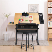 Drafting Table Height Adjustable Art Craft Writing Desk Drawing Painting W/stool