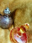 Vintage Art Glass Murano 2 Beautiful Bottles Never Used Only Displayed Free Ship