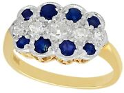Antique Sapphire And Old Cut Diamond 18k Yellow Gold Ring