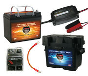 Vmax857 12v Agm Battery, Charger, U1 Box, 9 Cables, Circuit Breaker Marine Use