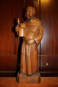 ✟ Antique 17 Wood Hand Carved Beer Drinking Monk Friar Abbot Figurine Statue ✟
