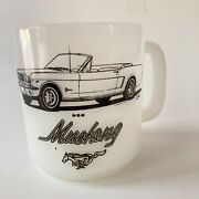 Glasbake Mustang Mug Vtg White Milk Glass Coffee Cup Ford Convertible Car 1960s