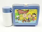 Vintage Snoopy Plastic Lunch Box W/ Thermos Blue Peanuts University