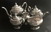 Antique 5-piece Niello Sterling Silver Tea/coffee Set By Lebkuecher And Co