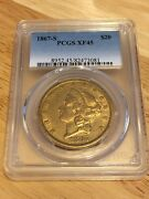 1867-s 20 Pcgs Xf45 Liberty Double Eagle Gold Coin Eyeclean Very Nice