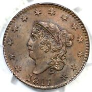 1817 N-13 Pcgs Ms 64+ Bn Cac 13 Stars Matron Or Coronet Head Large Cent Coin 1c