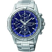 Seiko Menand039s Chronograph Solar Powered Watch With Stainless Steel Strap Ssc141p1