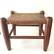 Stool Wood Woven Reed Footstool Small Vintage Antique Farmhouse