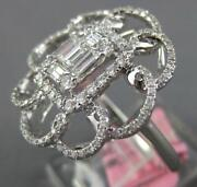 .93ct Diamond 18k White Gold Round And Baguette Cluster Invisible Flower Love Ring