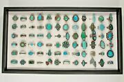 Navajo, Zuni And Other Sterling Silver Turquoise, Coral, Enamel Ring Collection