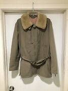Vintage 90s Polo Sport Shearling Collar Belted Military Jacket M