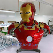 1/1 Scale Iron Man Mk43 Bust Statue Painted Figure Lifesize Led Light In Stock