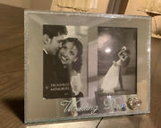 Wedding Picture Frames 4x6 Two Photos Mirror Ring Cute Luxury New Silver