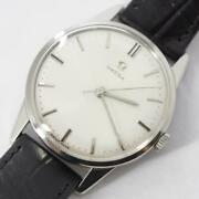 Omega Mens Watch Black Leather Band Antique 1960s Used Excellent