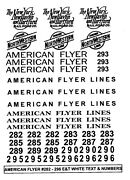 American Flyer 4-6-4 Pacific 282-296 White Decal Set Plus