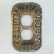 4 New Moroccan Style Antique Brass Duplex Outlet Cover Decorative Style - Rare