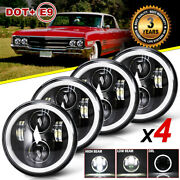 4pc 5.75 5-3/4 Inch Led Headlight Projector Halo Angel Hi/lo Beam For Chevy Gmc