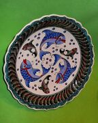 Turkish Turkey Kutanyal Turhiye Pottery Bowl With Colorful Fish And Other Designs.