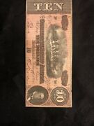 Csa 1864 Confederate Currency T68 10 Note Horses Pull Cannon P2