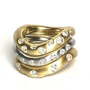 Cjl Preowned 18k Yellow Gold And 14k White Gold Wave Stack Diamond Bands