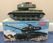 Rare Masudaya Large M-35 Us Army Tank Radicon Large Tin Toy Made In Japan 1961