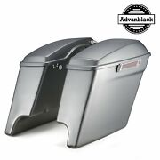 Brilliant Silver 4.5 Stretched Extended Saddlebags Normal Lids Fitsharley 2014+