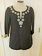 J Crew Navy Blue Linen Embroidered Embellished Tunic Top 3/4 Sleeve Sz 4 G