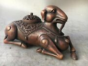 9and039and039 Red Copper Carvings Home Fengshui Auspicious Animal Sheep Incense Burner