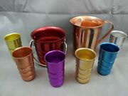 6 Ribbed Kromex Tumbler 5 Cups, Ice Bucket, Color Craft Aluminum 7.5 Pitcher