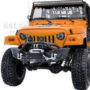 Rock Crawler Hd Front Bumper+winch Plate+led Mount For 97-06 Jeep Wrangler Tj