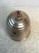 Victorian William Adams Silver Plate Honey Pot Enameled Bumble Bee Beehive
