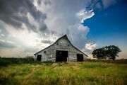 Country Farmhouse Art Print Of Rustic White Barn Under Storm Clouds In Oklahoma