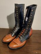 Vintage Olathe Packer Boots 7 1/2b In Two Tone Brown Tan Tall Usa Excellent
