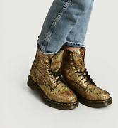 Dr. Martens 1460 Pascal Leather Boot In Gold Iridescent Crackle Msrp 185 Sz8,10