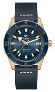 New Rado Captain Cook Auto Bronze Blue Dial Leather Band Menand039s Watch R32504205