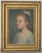 Wonderful Antique Portrait Of A Charming Young Girl C.1910