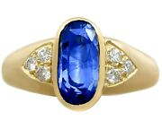 Vintage French 3.39 Ct Sapphire Diamond 18carat Yellow Gold Dress Ring Size N