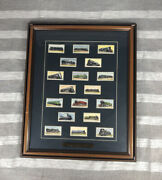 Vintage Railroad Cards Railway Engines 1936 Framed 23 X 19 With Brass Plate