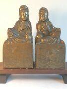 Amazing Pair Of Vintage Chinese Bronze Kwan-yin Bookends Statues 20th C.