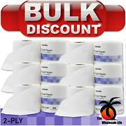 25 Rolls - Toilet Paper White 2-ply Tissue 500 Sheets Standard Size Roll