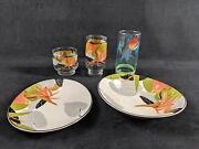 Lot Of Floral And Beach Sango Brand Drinking Glasses And Dinnerware