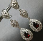 Estate Large 4.3ct Diamond And Aaa Garnet 14k White Gold Clip On Hanging Earrings