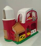 Vintage 2005 Fisher Price Little People Barn Silo Animal Sounds Play Set Toy Red
