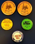 Vintage Farming Buttons Pinback Lot Of 5 Mn Threshing/tractor Pull 1970s 1980s