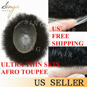 Afro Curly Mens Toupee Full Thin Skin Poly African American Human Hair Systems