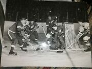1955 Terry Sawchuk Nhl Hockey Photo Detroit Red Wings Red Kelly Lions Tigers