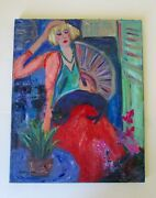 Leigh Seikel Santa Fe Portrait Blue Lady And Black Cat Impressionist Oil Painting