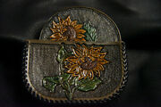 Leather Beverage Coaster And Holder 4 Coasters Sunflower Design Laced Sides New