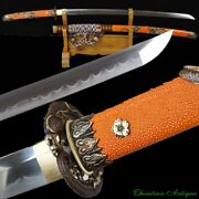 Japanese Tachi Sword Katana Hand Forged T10 Steel Clay Tempered Full Tang 2342